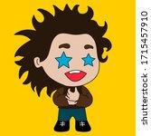 emoji with starstruck boy with... | Shutterstock .eps vector #1715457910