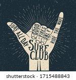 surf shaka hand gesture... | Shutterstock .eps vector #1715488843