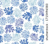 coral seamless pattern. blue...   Shutterstock .eps vector #1715496583