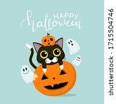 happy halloween greeting card... | Shutterstock .eps vector #1715504746