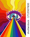 eye with rainbow lasers... | Shutterstock .eps vector #1715507830