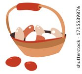 basket with painted chicken... | Shutterstock .eps vector #1715539876