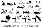 road hazard  car accident  and...   Shutterstock .eps vector #1715552740