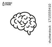 human brain. vector outline...   Shutterstock .eps vector #1715555410