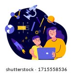 online education for children... | Shutterstock .eps vector #1715558536