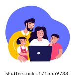 happy smiling family together... | Shutterstock .eps vector #1715559733