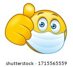 An illustration of a masked emoji with a thumbs up sign