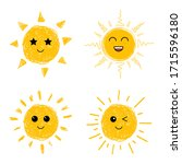the sun is smiling. sun icons... | Shutterstock .eps vector #1715596180