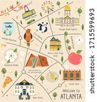 illustrated map of atlanta with ... | Shutterstock .eps vector #1715599693