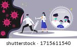 doctors wearing face mask fight ...   Shutterstock .eps vector #1715611540