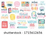 virtual relationships during... | Shutterstock .eps vector #1715612656