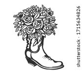 flowers in boot. cowboy with... | Shutterstock .eps vector #1715634826