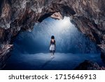 Small photo of The little girl wandered astray on the moonlight night, shining alone