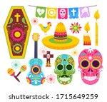 el dia de muertos  mexican day... | Shutterstock .eps vector #1715649259