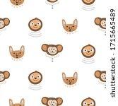 animal heads fun cute seamless... | Shutterstock .eps vector #1715665489