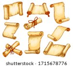 scroll paper parchment and... | Shutterstock .eps vector #1715678776