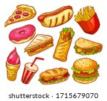 fast food sketch  sandwiches ... | Shutterstock .eps vector #1715679070