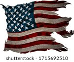 old  shabby american flag on a... | Shutterstock .eps vector #1715692510