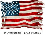 old  shabby american flag on a... | Shutterstock .eps vector #1715692513