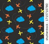 seamless pattern with plane and ...   Shutterstock . vector #1715710780