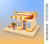 online shopping concept. store... | Shutterstock .eps vector #1715715196