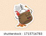 happy cauldron on the campfire  ... | Shutterstock .eps vector #1715716783