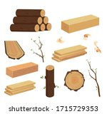 wood log and trunk  stump and... | Shutterstock .eps vector #1715729353