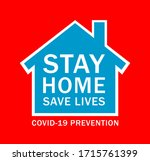 stay home save lives covid 19...   Shutterstock . vector #1715761399