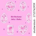 july birthstone  ruby... | Shutterstock .eps vector #1715762959