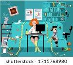 woman attending a work video... | Shutterstock .eps vector #1715768980