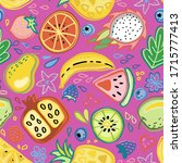 seamless pattern with tropical... | Shutterstock . vector #1715777413