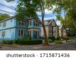 Small photo of Historic buildings on Beals Street in the Coolidge Corner of Brookline near Boston, Massachusetts, MA, USA. John Fitzgerald Kennedy National Historic Site NHS is located on this street.