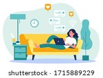 beautiful woman relaxing at... | Shutterstock .eps vector #1715889229