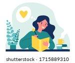 teenage girl writing diary or... | Shutterstock .eps vector #1715889310