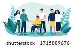 volunteers helping disabled...   Shutterstock .eps vector #1715889676