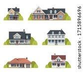houses set. suburban american... | Shutterstock .eps vector #1715896696