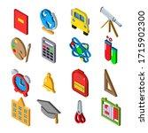 school icons set. isometric 3d...
