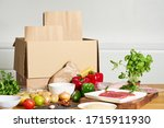 box with packed meat vegetables ...