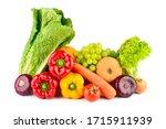 composition of fresh vegetables ... | Shutterstock . vector #1715911939