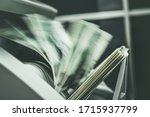 Business Equipment. Cash Money Inside Running Banknotes Counter Banking and Financial Theme. - stock photo