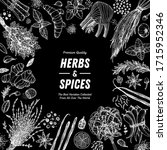 herbs and spices hand drawn... | Shutterstock .eps vector #1715952346