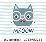 cute cat face charascter with... | Shutterstock .eps vector #1715953183