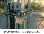 Locked Gate Tethered By Metal...