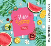 summer background with fruits ... | Shutterstock .eps vector #1716010003