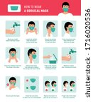 how to wear medical mask and... | Shutterstock .eps vector #1716020536