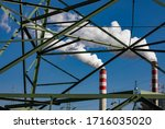 Power station chimney smoke, lignite power plant Konin, Poland.
