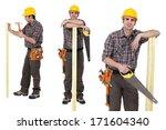 carpenter standing with plank...   Shutterstock . vector #171604340