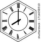 hexagon clock vector design 8 o'...