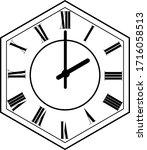 hexagon clock vector design 2 o'...