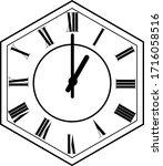 hexagon clock vector design 1 o'...